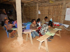 Laos Literacy Class At Night Students