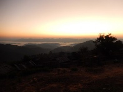 Sunrise in Laos Mountains