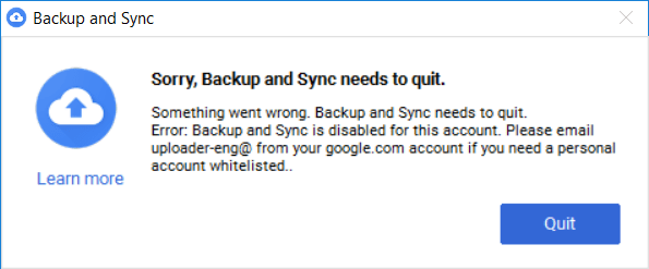 Backup and Sync Leak Not Working