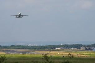 Airliner departing Runway 25.