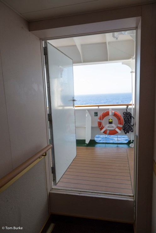 Door from internal passage to the clamshell area (view from inside)