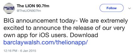 2015-01-06 LION 90.7fm tweet.png