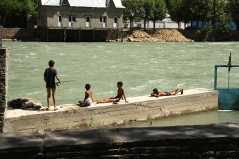 Boys by the Panj river - Khorog