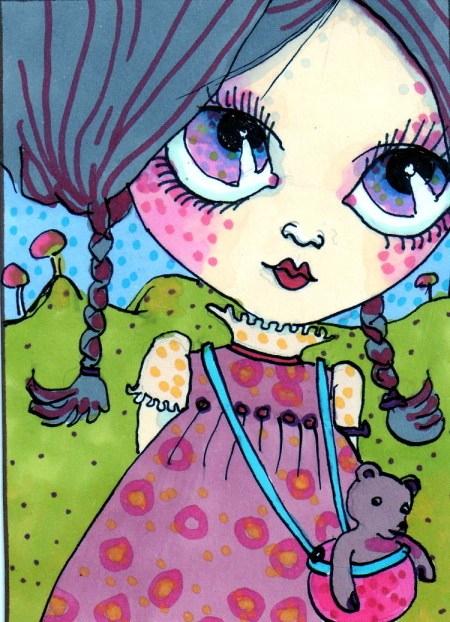 cute girl sketch card