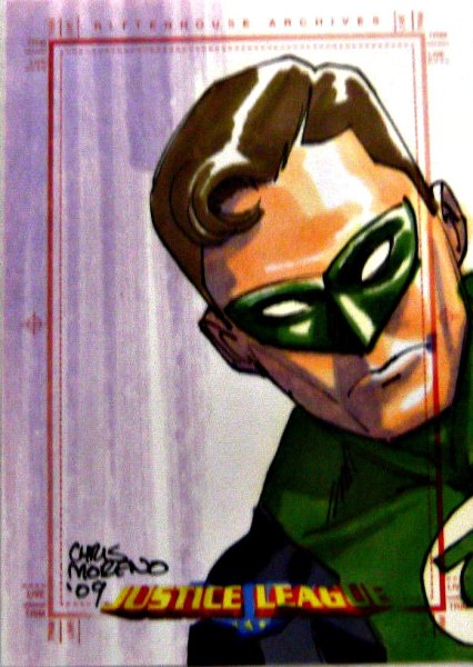 JUSTICE LEAGUE ARCHIVES GREEN LANTERN HAND DRAWN SKETCH CARD CHRIS MORENO