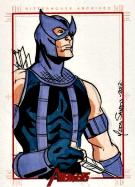 Marvel Greatest Heroes Sketch Card of Hawkeye by Mark Dos Santos Sketch Card of the Day Sketch Card Artist of the Day