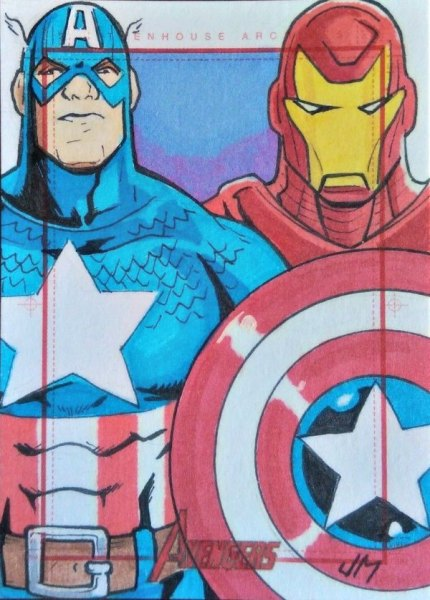 2012 Marvel Greatest Heroes Captain America and Iron Man Sketch Card Jake Minor Sketch Card Artist