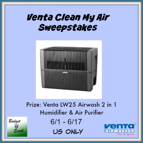 Venta Airwasher Giveaway - One lucky reader will win a Venta LW25 Airwash 2 in 1 Humidifier Air Purifier ($349.99 value)