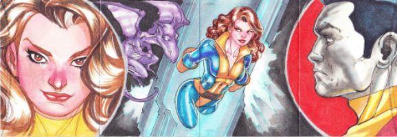 2014 Marvel Premier Shadow Cat, Lockheed, Colossus Panel Sketch Adriana Melo Sketch Card #marvel #hobby #artist #shadowcat
