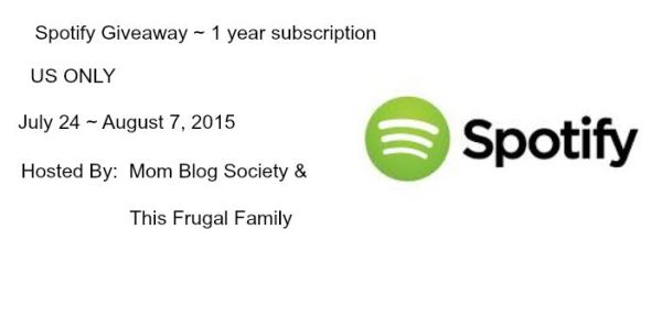 1 Year Spotify Subscription Giveaway ends 8/7 here is a chance to be able to listen to spotify on your terms for a whole year, good luck from A Medic's World.