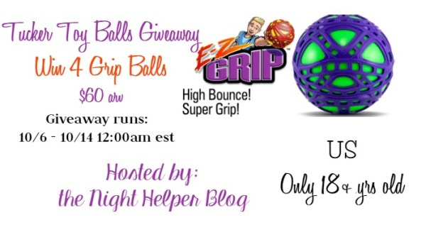 Tucker Toy Balls Giveaway - Win 4 Grip Balls Ends 10/14 Open to the US. Good Luck.
