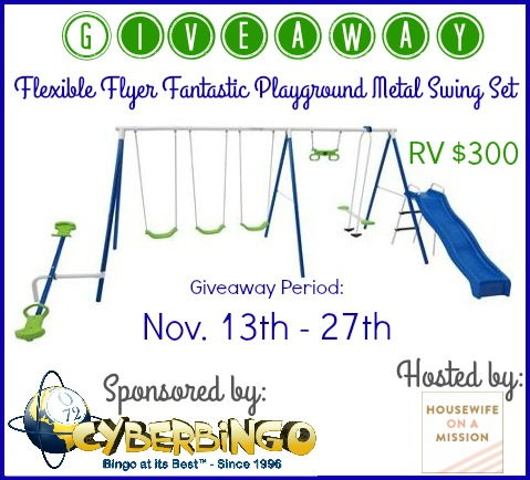 Flexible Flyer Fantastic Playground Metal Swing Set Giveaway - Ends 11/27