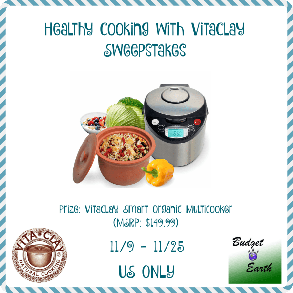 Healthy Cooking with VitaClay Sweepstakes - Ends 11/25 Great prize to try and win, use for the holidays, or give it as a gift for Christmas. Good luck. ~Tom