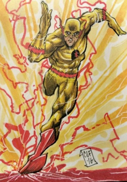 Sketch Card Art of the Day Reverse Flash by Chris Foreman