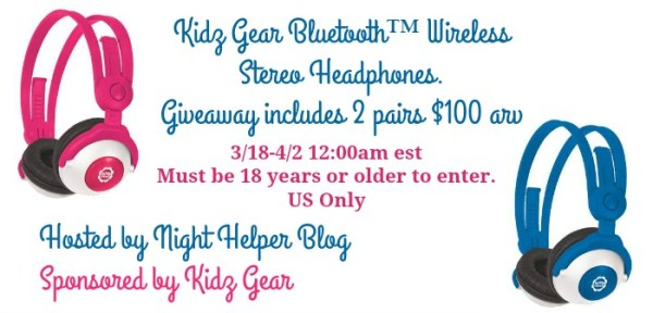 Kidz Gear Bluetooth Wireless Stereo Headphones Giveaway Ends 4/2 Good Luck from Tom's Take On Things