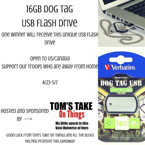16GB Dog Tag USB Drive Giveaway Good Luck from Tom's Take On Things Support Our Troops