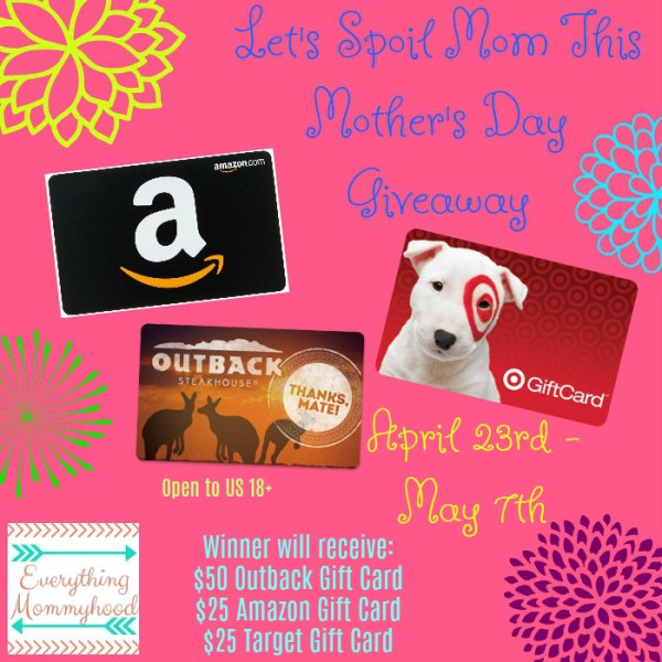 Let's Spoil Mom Mother's Day Giveaway - Win Gift Cards for Mom Ends 5/7 Good Luck!