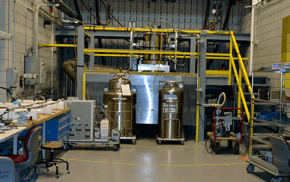 Magnet cell 9 at the National High Magnetic Field Laboratory being prepared for an experiment.