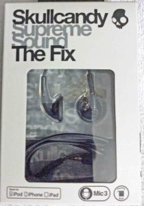 Picture of the fully packaged Skullcandy Fix earbuds, front view.