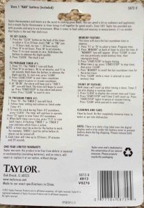 Picture of the printed operating instructions for the Taylor Dual Event Timer, 5872-9, as displayed on the back of the packaging.
