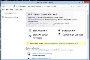 Showing the Windows 8 Ease of Access Center window open, within Control Panel.