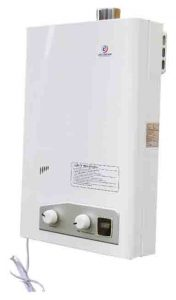 Stock picture of the Eccotemp FVI-12-LP high capacity propane tankless water heater, front view.