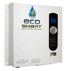 Stock picture of the EcoSmart ECO 27 electric tankless water heater, front view.