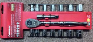 Picture of the Husky Universal Ratchet Socket 16 Piece Set, Front View.