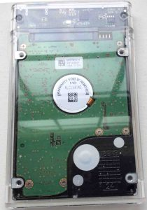 Picture of a Samsung laptop disk drive in USB enclosure, bottom view.
