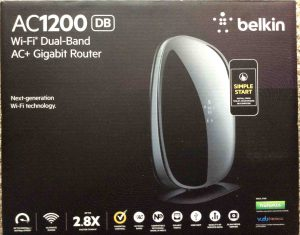 Picture of the front of the box for the Belkin AC1200 DB Wireless Router.