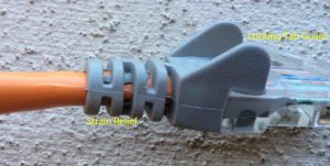 Picture of an RJ45 Connector, featuring Strain Relief and Locking Tab Guard.