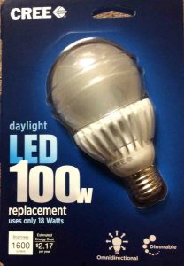 Picture of a CREE LED Light Bulb, 100 Watt, the Front of its original carton.