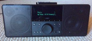 Picture of the Logitech Squeezebox Boom Internet Radio, Front View, while operating.