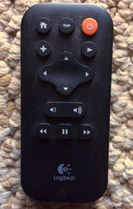 Picture of the remote control for the Logitech Squeezebox Boom Internet Radio.