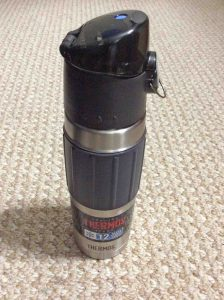 Picture of the fully assembled Thermos double walled hydration bottle.