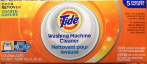 Tide washing machine cleaner review. Picture of the top of a box of Tide Washing Machine Cleaner, 5 Pouch Package.