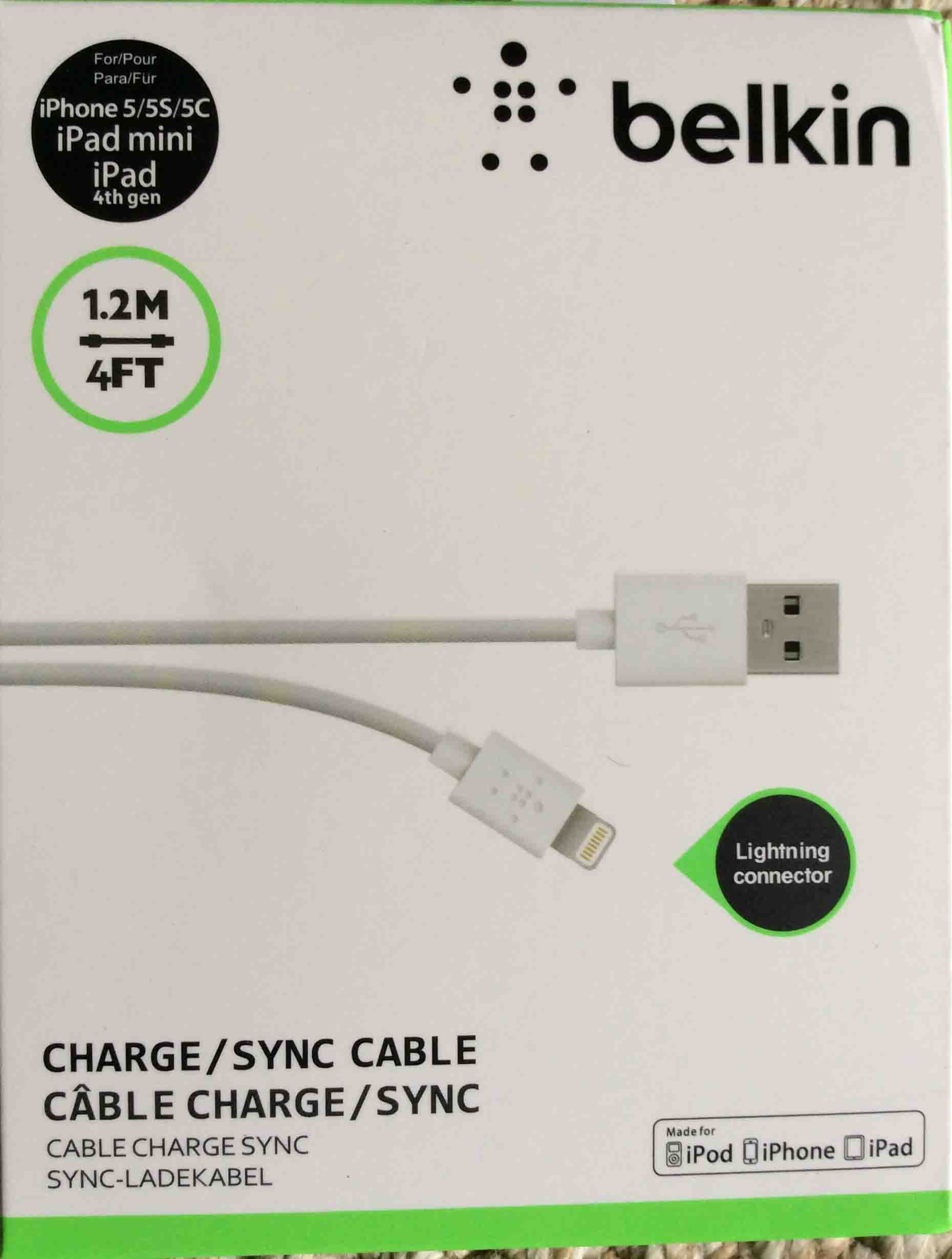 Belkin Lightning Usb Cable 12m 4 Ft Review Toms Tek Stop Kabel Charger Data 2 In 1 Micro Iphone 5 Picture Of Front Original Package For The