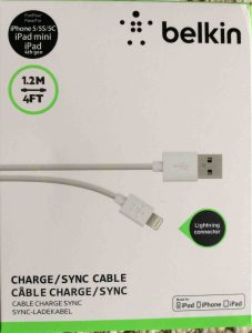 Picture of front of original package for the Belkin lightning USB cable.