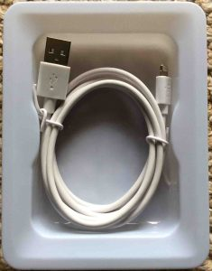 Picture of the Belkin lightning USB cable, as originally packaged.