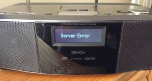 """Picture of the Denon S-32 Internet Radio, displaying the, """"Server Error,"""" message. Reconnect WiFi is necessary."""