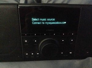 Picture of the Logitech Squeezebox Boom Radio, displaying the Connect To MySqueezebox.com option.
