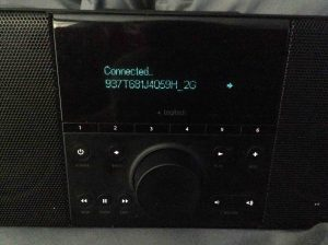 """Picture of the """"Connected."""" screen. Change WiFi on Logitech Squeezebox Boom."""