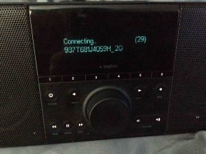 Picture of the Logitech Squeezebox Boom Radio, Connecting to New Wi-Fi Network Screen.