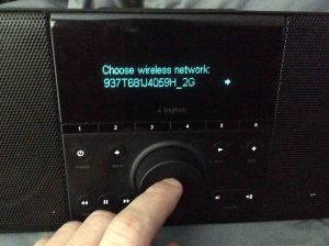 Picture of the In-Range Wireless Networks Screen, with the desired Wi-Fi network selected, on the Logitech Squeezebox Boom Internet Radio.