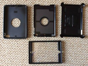 Picture of the OtterBox Defender Series iPad Mini Protective Case Parts, prior to assembling.