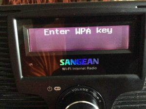 Picture of the Sangean WFR-20 Player, displaying the Enter Wireless Network Key screen.