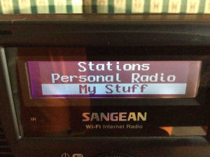 Picture of the Sangean WFR-20 Wi-Fi Internet Radio, displaying its Main menu.