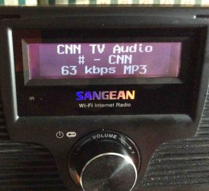 How to find Internet radio stream URL. Picture of the Sangean WFR-20 Radio, playing Internet station after making successful Wi-Fi network connection.
