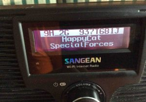 Picture of the Sangean WFR-20 Wi-Fi Radio, showing in-range networks screen after Wi-Fi scan.