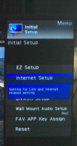 Picture of the Internet Setup menu item selected.